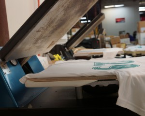 Silk screening press with shirt