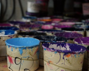 Buckets of dyes and colors